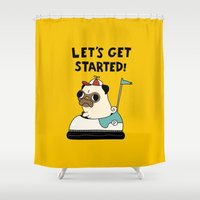 pug Shower Curtains featuring PUG! by Jarvis Glasses