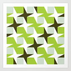 Green & brown stars & squares pattern Art Print