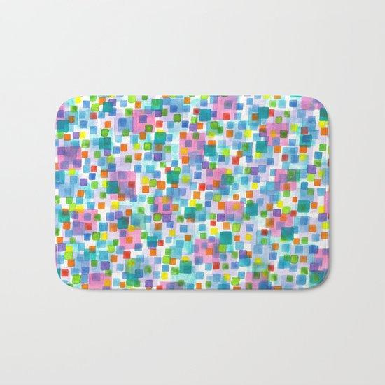 Pink beneath Square-Confetti Bath Mat