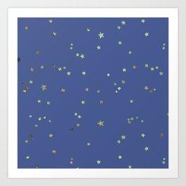 Gold Stars on Blue Night Sky Pattern Art Print