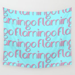 flamingo flamingo flamingo // pink + blue Wall Tapestry