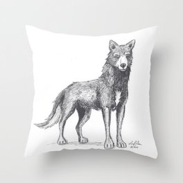 The Lone She-Wolf Throw Pillow