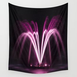 Fountain at Night Wall Tapestry