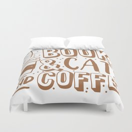 Books, cats and coffee Duvet Cover