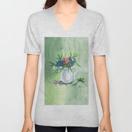 Pitcher of Lupins in Green Unisex V-Neck