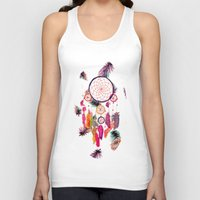preppy Tank Tops featuring Hipster Watercolor Dreamcatcher Feathers Pattern  by Girly Trend