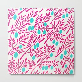 Olive Branches – Pink Ombré & Turquoise Metal Print