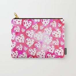 Pink Watercolor Heart Pattern Carry-All Pouch