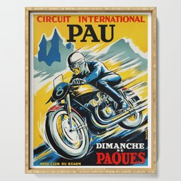 Grand Prix de Pau, Race poster, vintage motorcycle poster, retro poster, Serving Tray