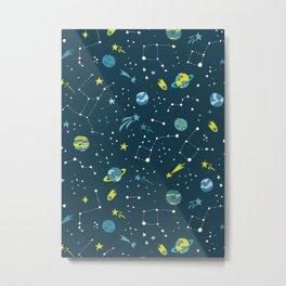 Meteor Showers in Blue + Green Metal Print