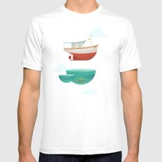 Floating Boat White Mens Fitted Tee MEDIUM