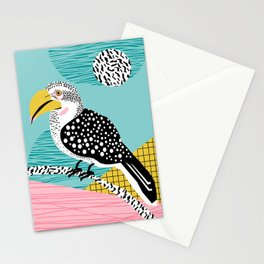 What - memphis tropical retro neon throwback 1980s 80s style hipster abstract bird vacation nature Stationery Cards