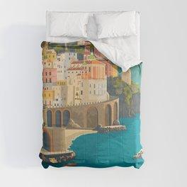 Italy amalfy coast. Vintage illustration poster art. Comforters