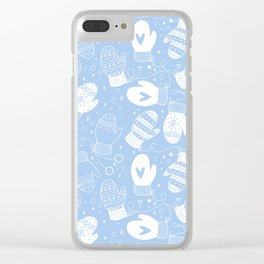 Winter Mittens Powder Blue Clear iPhone Case