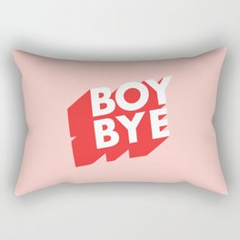 Boy Bye funny poster typography graphic design in red and pink home decor Rectangular Pillow