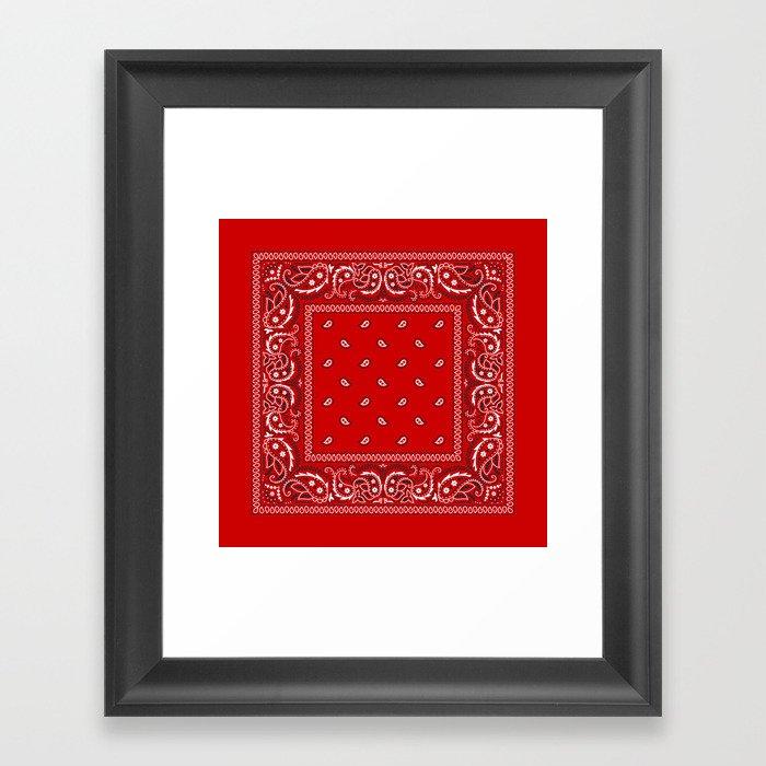Paisley - Bandana - Red - Southwestern - Boho Gerahmter Kunstdruck