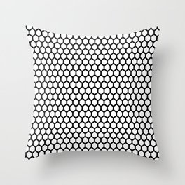 Black and white honeycomb pattern Throw Pillow
