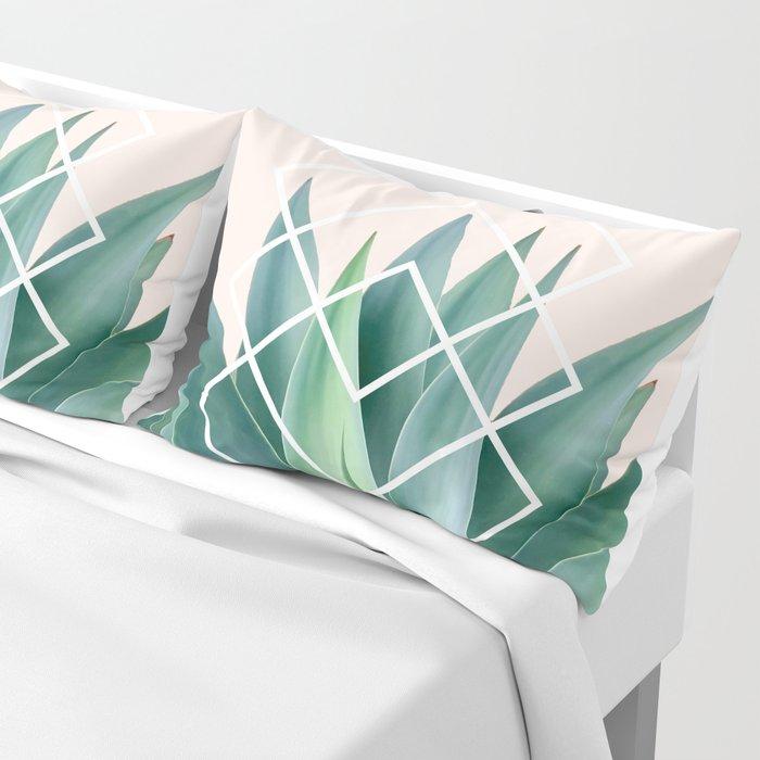 Agave geometrics - peach Pillow Sham