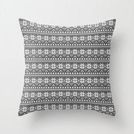 black white , Scandinavian pattern Throw Pillow