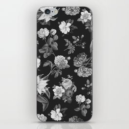 Vintage flowers on black iPhone Skin