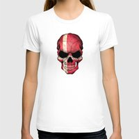 denmark T-shirts featuring Dark Skull with Flag of Denmark by Jeff Bartels