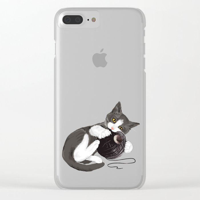 Kitten and Death Star Ball of Yarn Clear iPhone Case