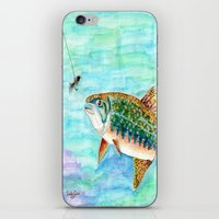 trout iPhone & iPod Skins featuring Brook Trout by Linda Ginn Art ©