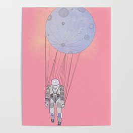The Moon-Man Floating Through the Pink Universe Poster