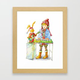 Indie Pop Girl at Christmas Time Framed Art Print