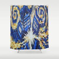 dr who Shower Curtains featuring Dr Who by giftstore2u