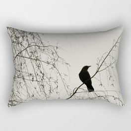 Crow in the Willow - Graphic Birds Series, Plain - Modern Home Decor Rectangular Pillow