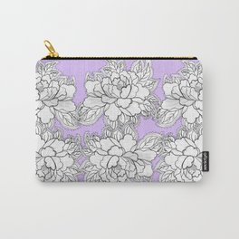 Lilac Peonies Floral Flowers Hand Drawn Print Pastel Carry-All Pouch