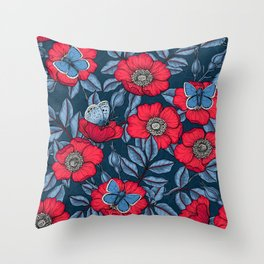 Dog rose and butterflies in red and blu Throw Pillow