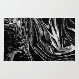 Black and white marble abstract minimal suminagashi japanese ink Rug