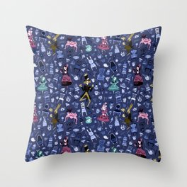 Alice - Mad Tea Party Pattern Throw Pillow