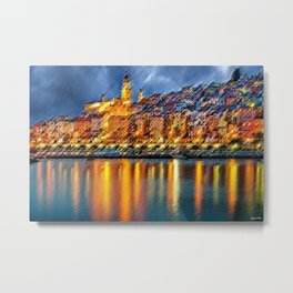 Cote d'azur - Menton, France Night Scene Landscape Painting by Jeanpaul Ferro Metal Print