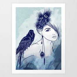 Parrot Girl Art Print