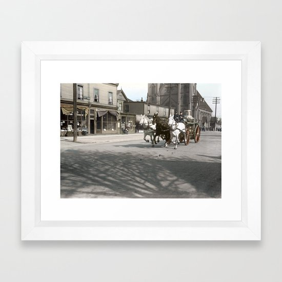 Vancouver Fire Department horsedrawn steam pump on Georgia Street near  Richards c 1915 Framed Art Print