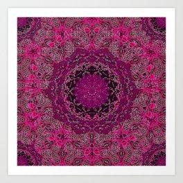 Raspberry Wisteria Mandala Art Print