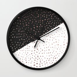 Speckled Rose Gold Flakes on Black White Geometric Wall Clock