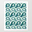 Vintage Waves - Tropical Teal by kristiangallagher