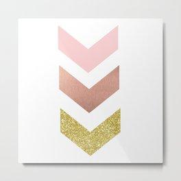 Rose gold chevron Metal Print