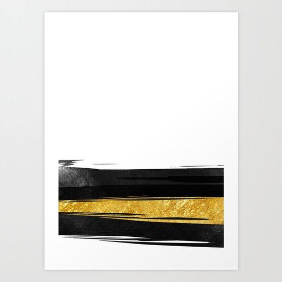 Gold and Black Stripes Art Print