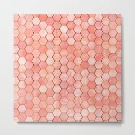 Coral and Gold Hexagonal Geometric Pattern Metal Print