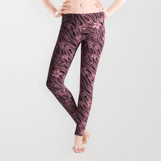 Pink floral pattern on a tiger background. Leggings