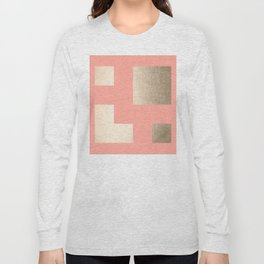 Simply Geometric White Gold Sands on Salmon Pink Long Sleeve T-shirt