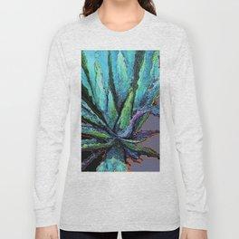 BLUE DESERT AGAVE CACTI PASTEL ART Long Sleeve T-shirt