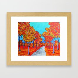 Twilight Woods (ORIGINAL ACRYLIC PAINTING) by Mike Kraus- forest trees nature environment red orange Framed Art Print
