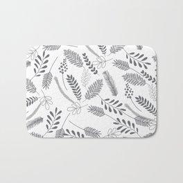 Modern gray hand painted leaves berries pattern Bath Mat