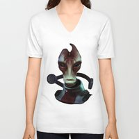 mass effect V-neck T-shirts featuring Mass Effect: Mordin Solus by Ruthie Hammerschlag